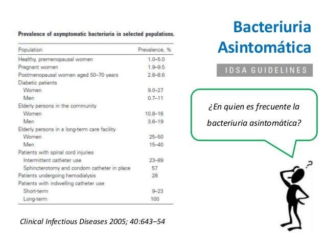¿En quien es frecuente la  bacteriuria asintomática?  Clinical Infectious Diseases 2005; 40:643–54  Bacteriuria  Asintomát...