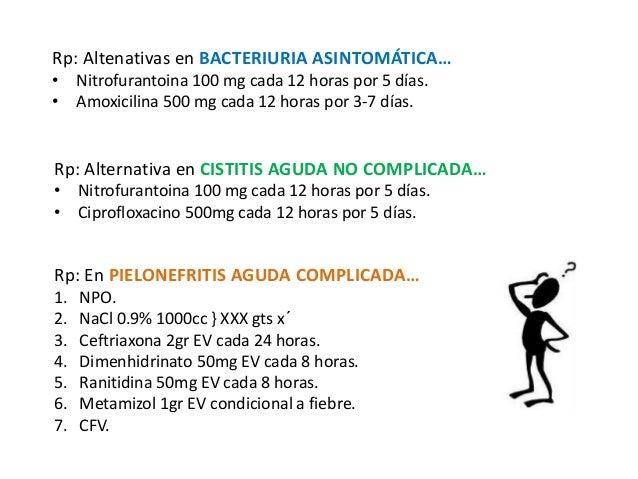 Rp: Altenativas en BACTERIURIA ASINTOMÁTICA…  • Nitrofurantoina 100 mg cada 12 horas por 5 días.  • Amoxicilina 500 mg cad...