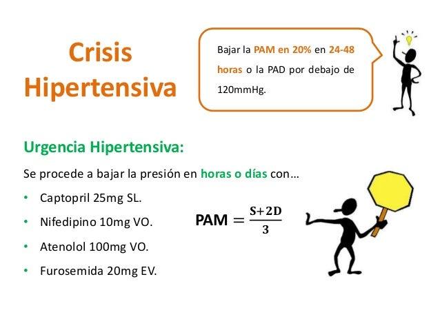 Crisis  Hipertensiva  Bajar la PAM en 20% en 24-48  horas o la PAD por debajo de  120mmHg.  Urgencia Hipertensiva:  Se pro...