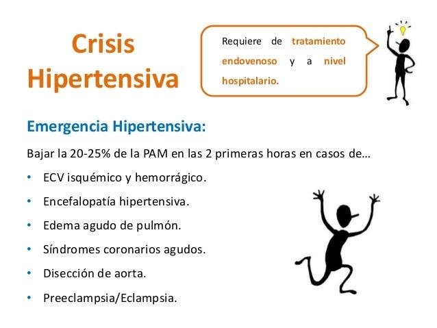 Crisis  Hipertensiva  Requiere de tratamiento  endovenoso y a nivel  hospitalario.  Emergencia Hipertensiva:  Bajar la 20-...