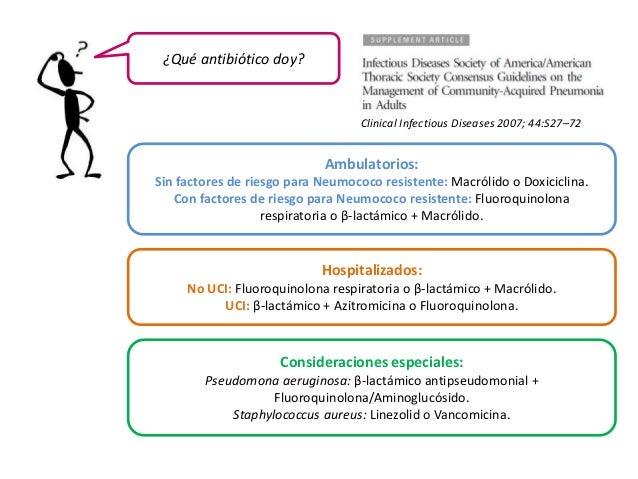 ¿Qué antibiótico doy?  Clinical Infectious Diseases 2007; 44:S27–72  Ambulatorios:  Sin factores de riesgo para Neumococo ...