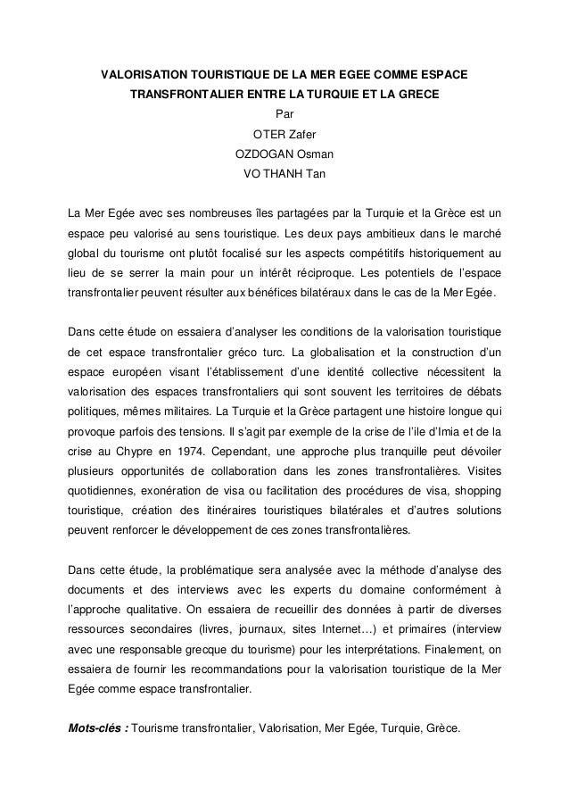 VALORISATION TOURISTIQUE DE LA MER EGEE COMME ESPACE  TRANSFRONTALIER ENTRE LA TURQUIE ET LA GRECE  Par  OTER Zafer  OZDOG...