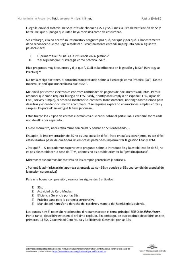 Mantenimiento Preventivo Total, volumen V - Koichi Kimura Página 10 de 32 Este trabajo está protegido bajo licencia Atribu...