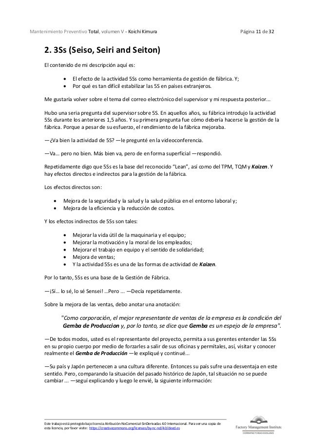 Mantenimiento Preventivo Total, volumen V - Koichi Kimura Página 11 de 32 Este trabajo está protegido bajo licencia Atribu...