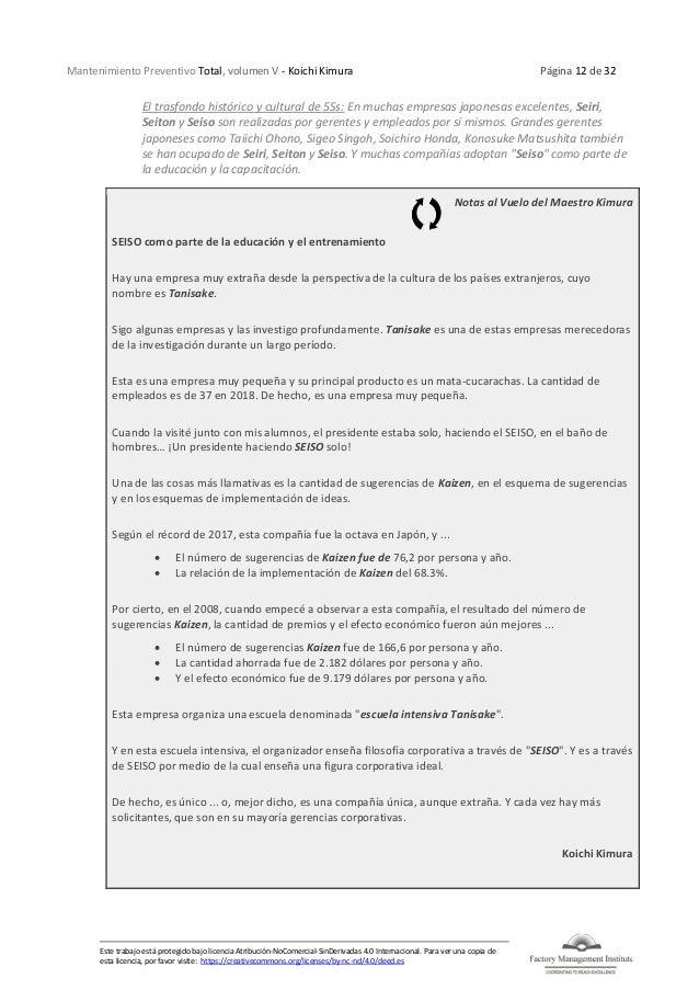 Mantenimiento Preventivo Total, volumen V - Koichi Kimura Página 12 de 32 Este trabajo está protegido bajo licencia Atribu...