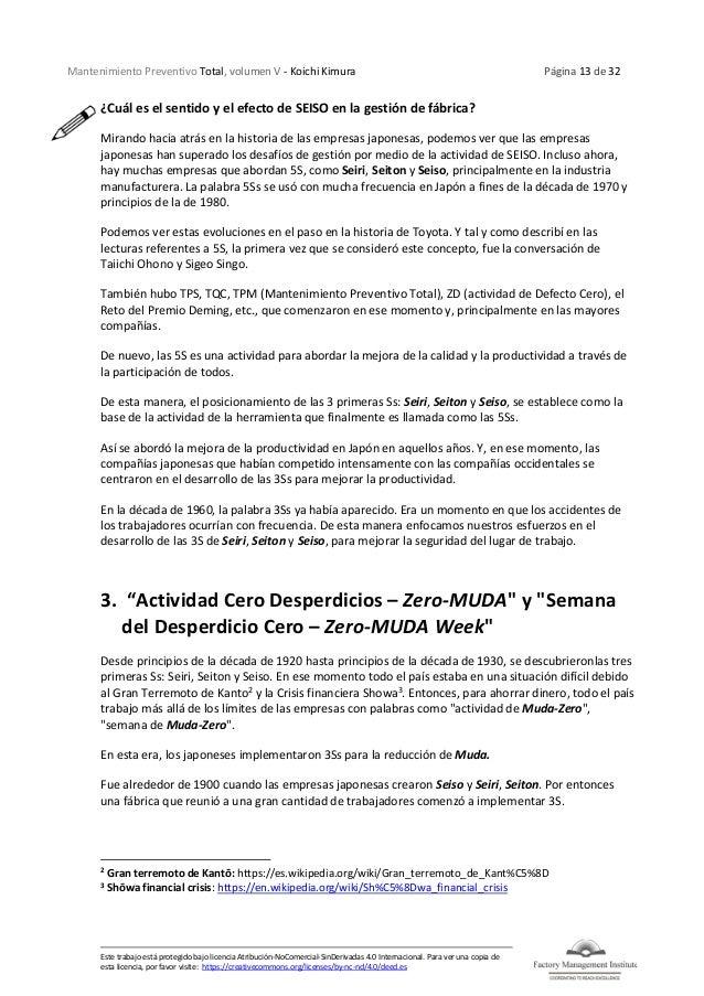 Mantenimiento Preventivo Total, volumen V - Koichi Kimura Página 13 de 32 Este trabajo está protegido bajo licencia Atribu...