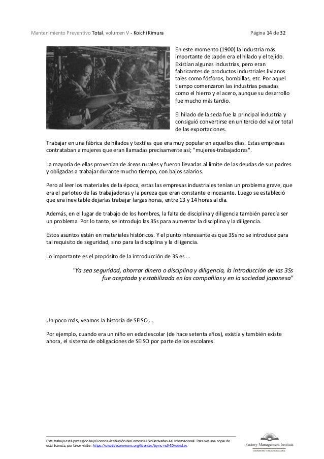 Mantenimiento Preventivo Total, volumen V - Koichi Kimura Página 14 de 32 Este trabajo está protegido bajo licencia Atribu...