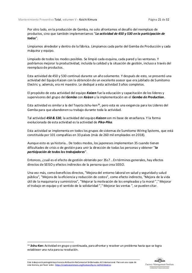 Mantenimiento Preventivo Total, volumen V - Koichi Kimura Página 21 de 32 Este trabajo está protegido bajo licencia Atribu...