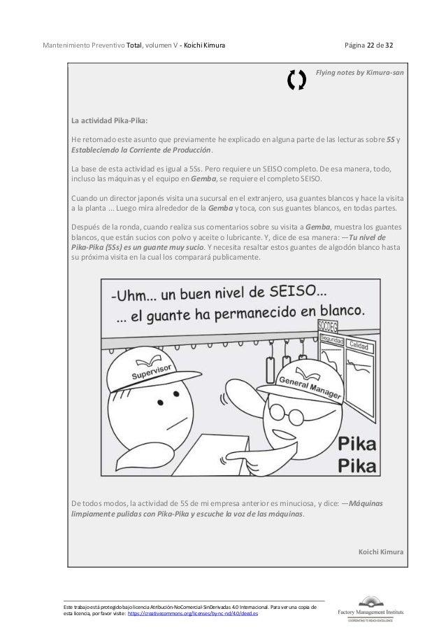 Mantenimiento Preventivo Total, volumen V - Koichi Kimura Página 22 de 32 Este trabajo está protegido bajo licencia Atribu...
