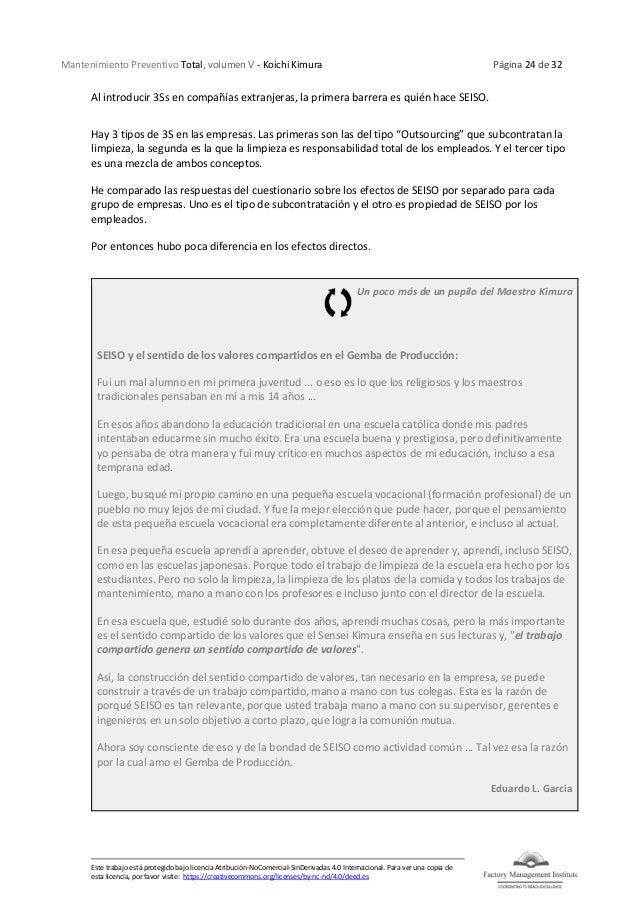 Mantenimiento Preventivo Total, volumen V - Koichi Kimura Página 24 de 32 Este trabajo está protegido bajo licencia Atribu...