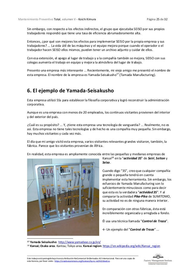 Mantenimiento Preventivo Total, volumen V - Koichi Kimura Página 25 de 32 Este trabajo está protegido bajo licencia Atribu...