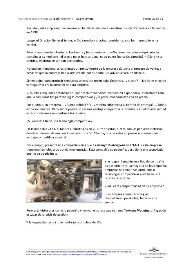 Mantenimiento Preventivo Total, volumen V - Koichi Kimura Página 27 de 32 Este trabajo está protegido bajo licencia Atribu...