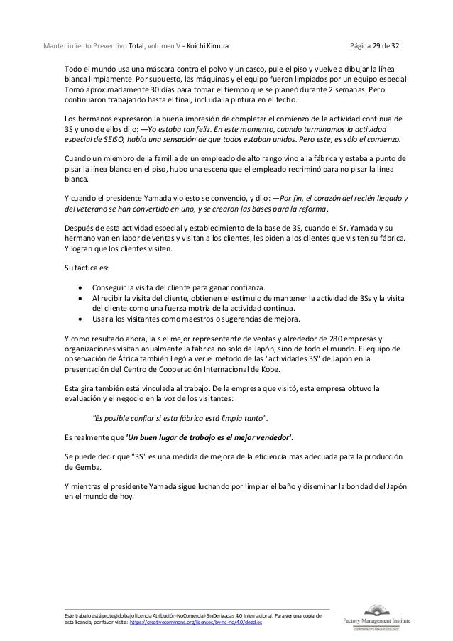 Mantenimiento Preventivo Total, volumen V - Koichi Kimura Página 29 de 32 Este trabajo está protegido bajo licencia Atribu...