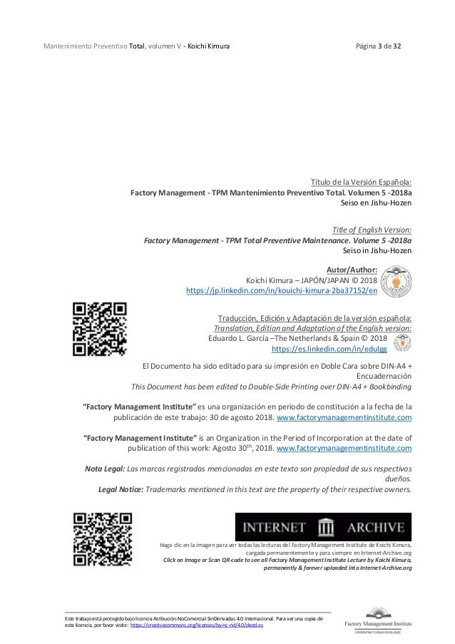 Mantenimiento Preventivo Total, volumen V - Koichi Kimura Página 3 de 32 Este trabajo está protegido bajo licencia Atribuc...