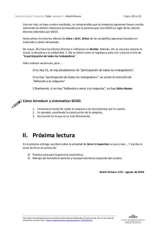 Mantenimiento Preventivo Total, volumen V - Koichi Kimura Página 32 de 32 Este trabajo está protegido bajo licencia Atribu...