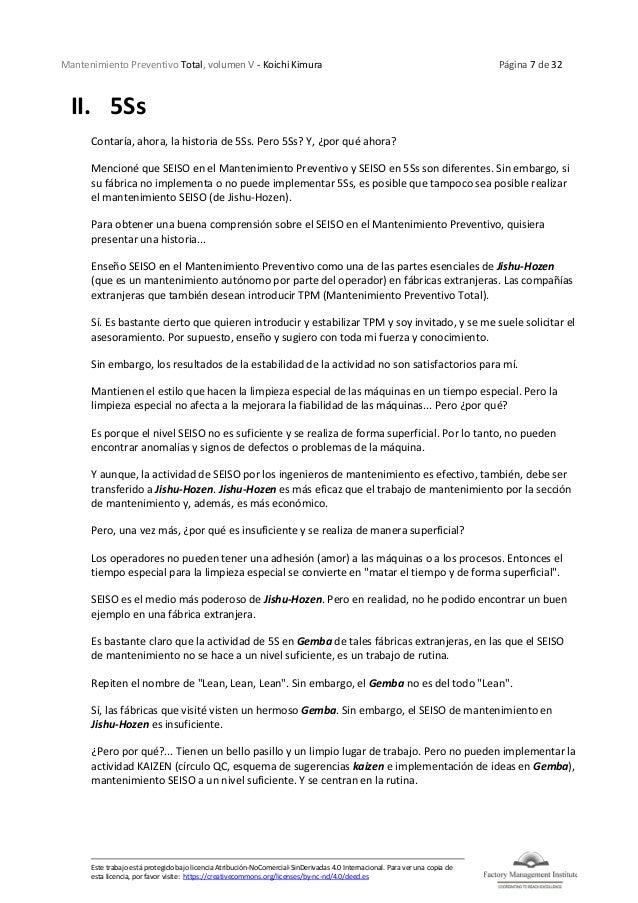Mantenimiento Preventivo Total, volumen V - Koichi Kimura Página 7 de 32 Este trabajo está protegido bajo licencia Atribuc...