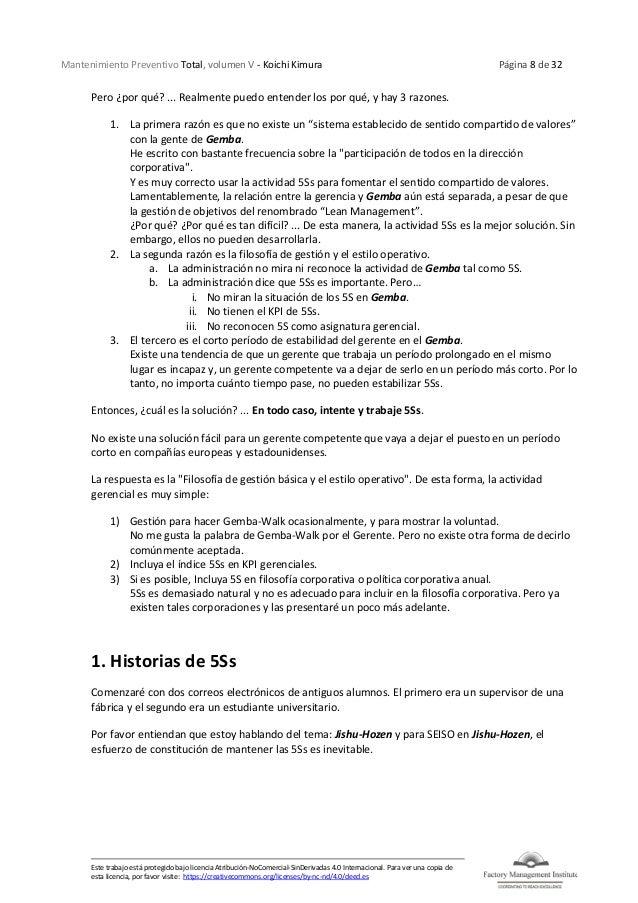 Mantenimiento Preventivo Total, volumen V - Koichi Kimura Página 8 de 32 Este trabajo está protegido bajo licencia Atribuc...