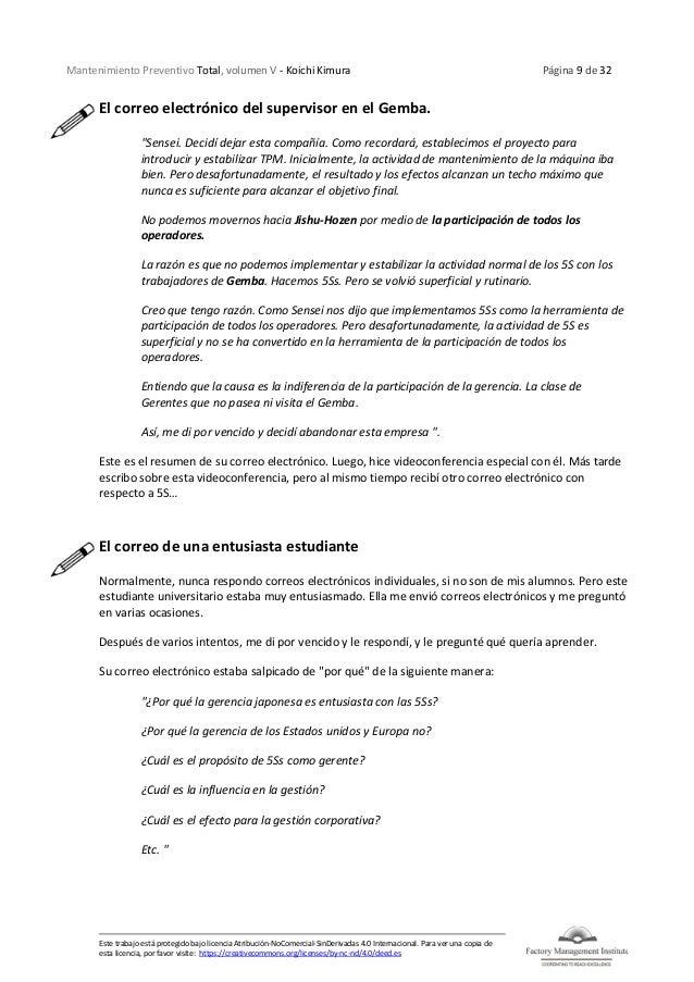 Mantenimiento Preventivo Total, volumen V - Koichi Kimura Página 9 de 32 Este trabajo está protegido bajo licencia Atribuc...