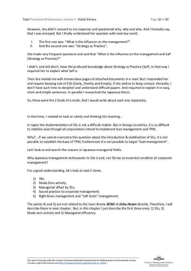 Total Preventive Maintenance, volume V - Koichi Kimura Page 10 of 30 This work is licensed under the Creative Commons Attr...