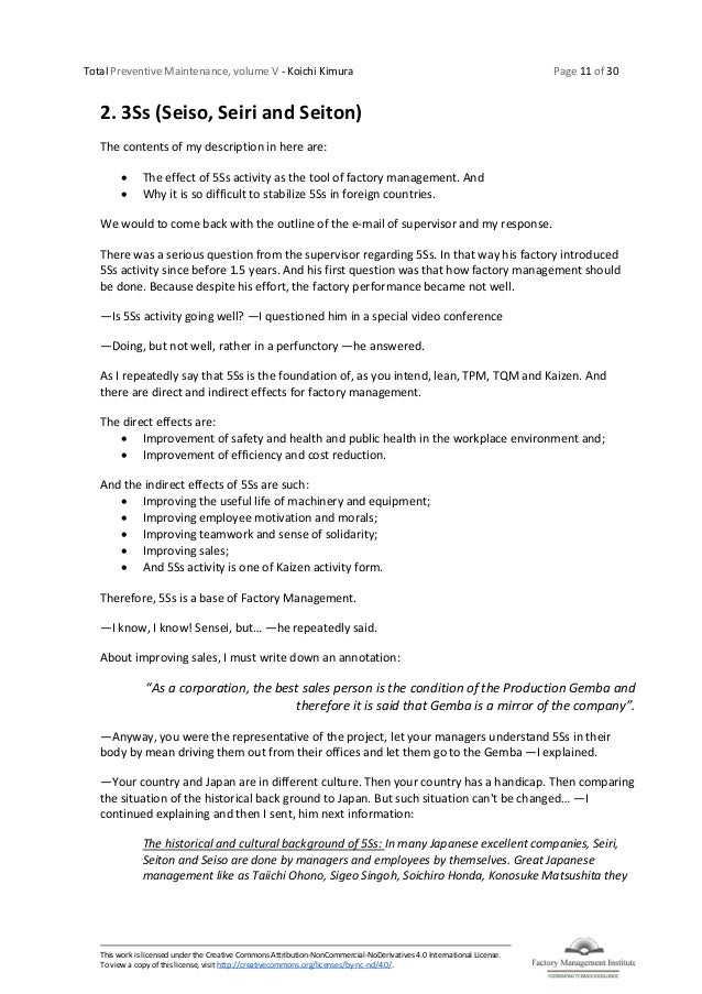 Total Preventive Maintenance, volume V - Koichi Kimura Page 11 of 30 This work is licensed under the Creative Commons Attr...