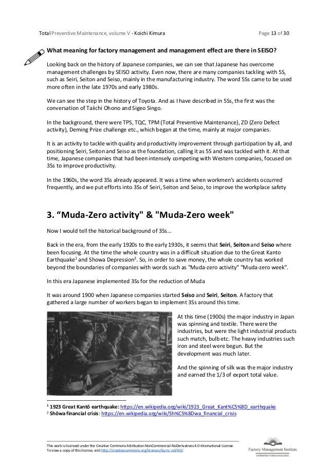 Total Preventive Maintenance, volume V - Koichi Kimura Page 13 of 30 This work is licensed under the Creative Commons Attr...
