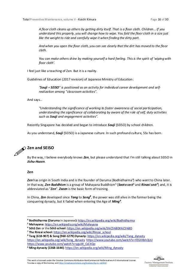 Total Preventive Maintenance, volume V - Koichi Kimura Page 16 of 30 This work is licensed under the Creative Commons Attr...