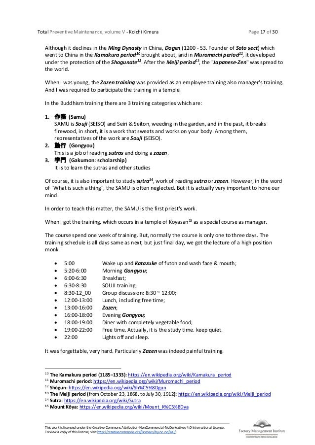 Total Preventive Maintenance, volume V - Koichi Kimura Page 17 of 30 This work is licensed under the Creative Commons Attr...