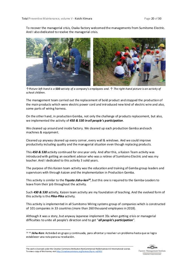 Total Preventive Maintenance, volume V - Koichi Kimura Page 20 of 30 This work is licensed under the Creative Commons Attr...