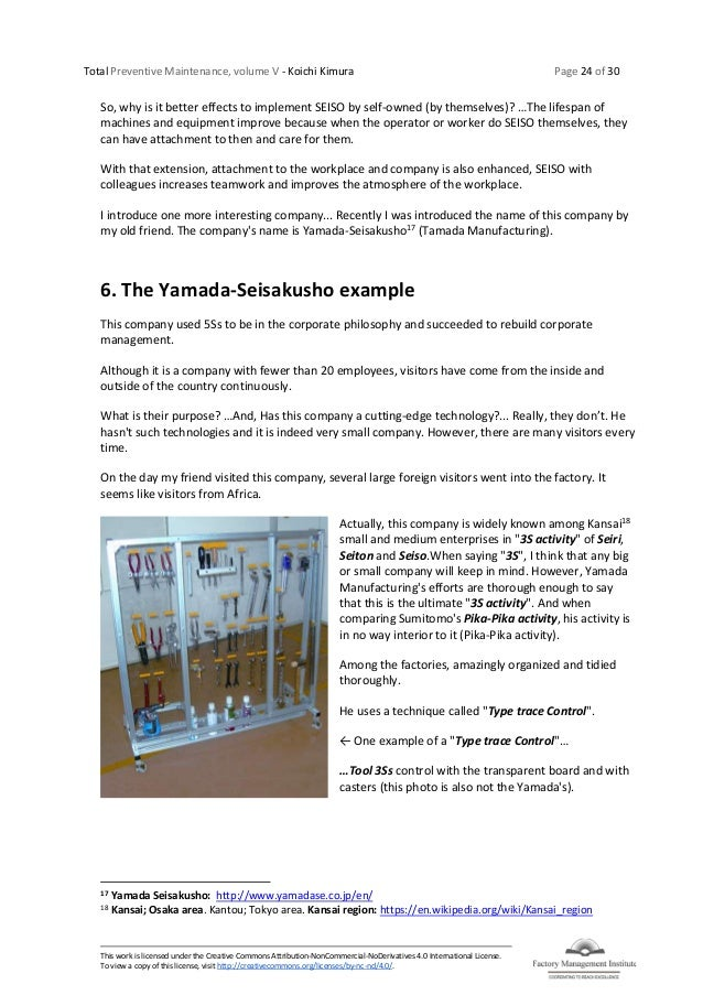 Total Preventive Maintenance, volume V - Koichi Kimura Page 24 of 30 This work is licensed under the Creative Commons Attr...