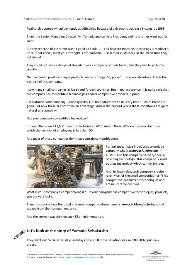 Total Preventive Maintenance, volume V - Koichi Kimura Page 26 of 30 This work is licensed under the Creative Commons Attr...