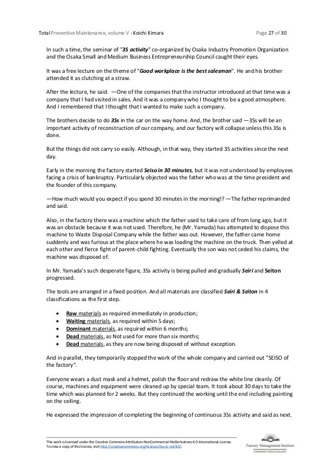 Total Preventive Maintenance, volume V - Koichi Kimura Page 27 of 30 This work is licensed under the Creative Commons Attr...
