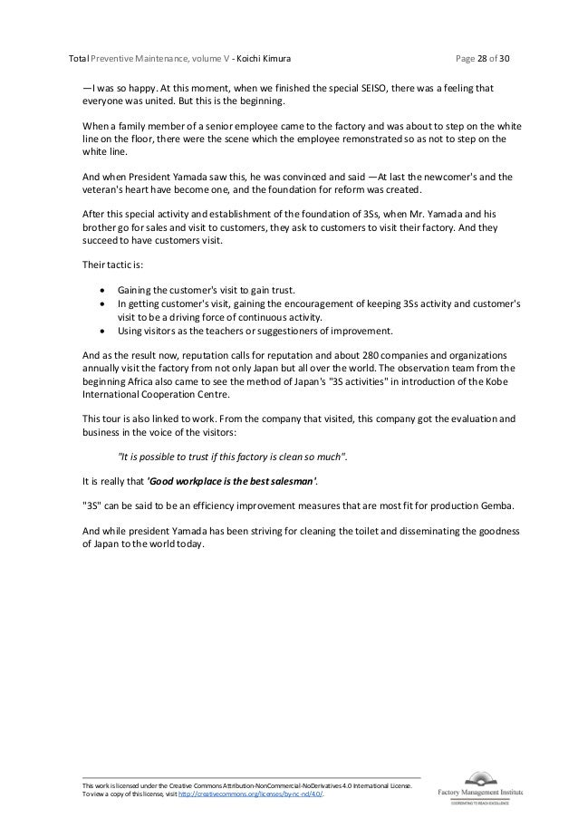 Total Preventive Maintenance, volume V - Koichi Kimura Page 28 of 30 This work is licensed under the Creative Commons Attr...