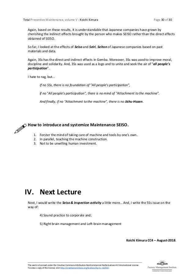 Total Preventive Maintenance, volume V - Koichi Kimura Page 30 of 30 This work is licensed under the Creative Commons Attr...
