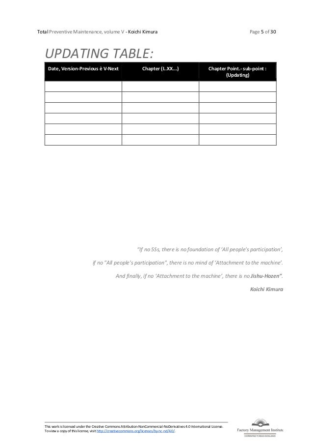 Total Preventive Maintenance, volume V - Koichi Kimura Page 5 of 30 This work is licensed under the Creative Commons Attri...