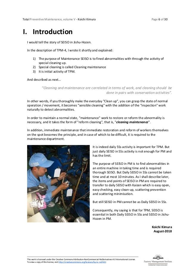 Total Preventive Maintenance, volume V - Koichi Kimura Page 6 of 30 This work is licensed under the Creative Commons Attri...
