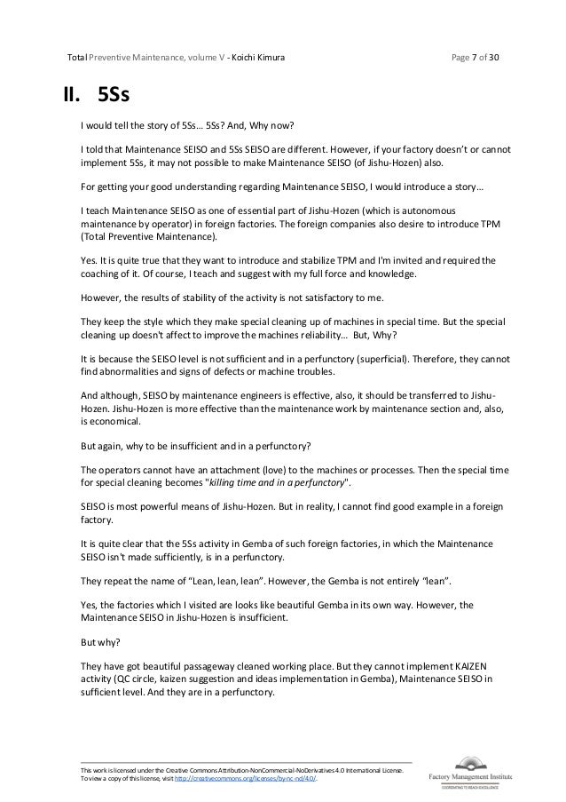 Total Preventive Maintenance, volume V - Koichi Kimura Page 7 of 30 This work is licensed under the Creative Commons Attri...