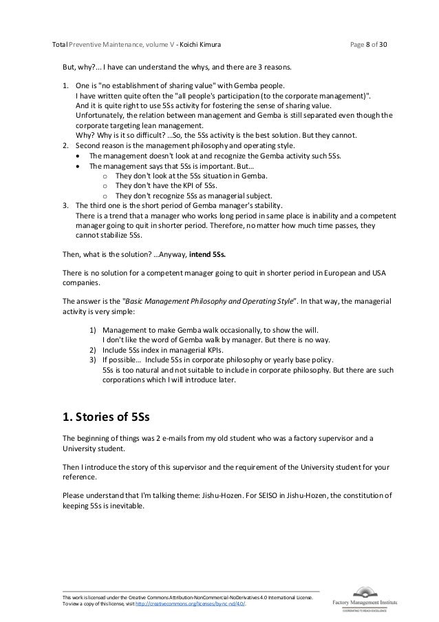 Total Preventive Maintenance, volume V - Koichi Kimura Page 8 of 30 This work is licensed under the Creative Commons Attri...