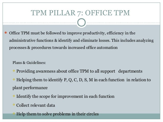 16 major losses identified by tpm Tpm 8 pillars tpm - total productive maintenance is a tool mostly used in automotive companies,its having 8 pillarstpm pillars helps to maintain good product quality with the kaizen activities try to thoroughly eliminate 16 major losses 16 major losses in a organisation: 1 failure.
