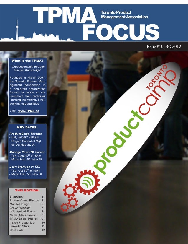 TPMA           Toronto Product                                Management Association                    FOCUS             ...