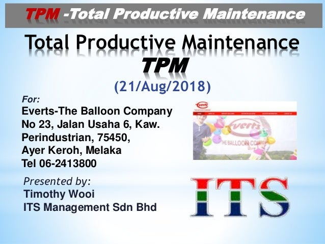 info for 15604 de51f Total Productive Maintenance (TPM) for EVERTS 20Aug2018
