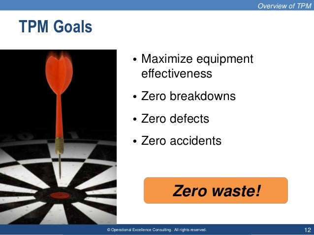 © Operational Excellence Consulting. All rights reserved. 12 TPM Goals • Maximize equipment effectiveness • Zero breakdown...