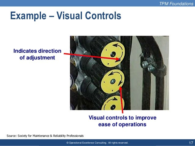© Operational Excellence Consulting. All rights reserved. 17 Example – Visual Controls TPM Foundations Source: Society for...