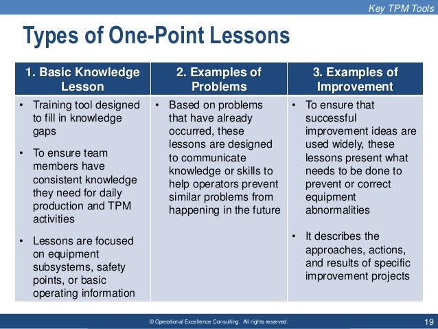 © Operational Excellence Consulting. All rights reserved. 19 Types of One-Point Lessons 1. Basic Knowledge Lesson 2. Examp...