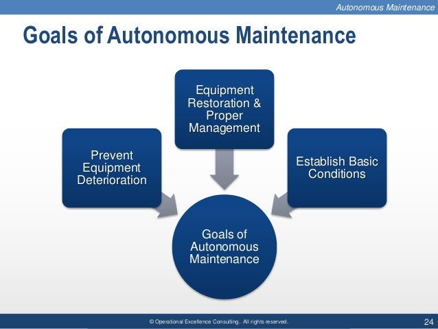 © Operational Excellence Consulting. All rights reserved. 24 Goals of Autonomous Maintenance Goals of Autonomous Maintenan...