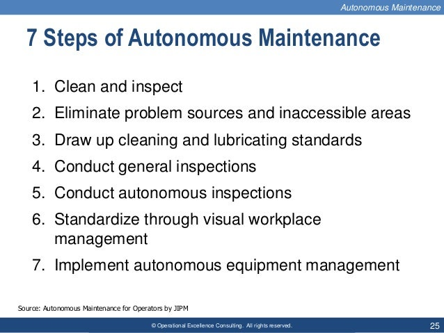 © Operational Excellence Consulting. All rights reserved. 25 7 Steps of Autonomous Maintenance 1. Clean and inspect 2. Eli...