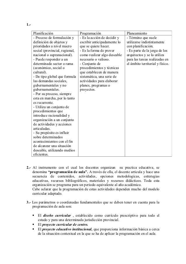 1.-      Planificación                   Programación                   Planeamiento      - Proceso de formulación y      ...