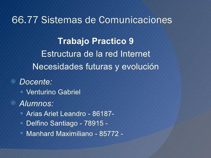 66.77 Sistemas de Comunicaciones <ul><li>Docente:   </li></ul><ul><ul><li>Venturino Gabriel </li></ul></ul><ul><li>Alumnos...