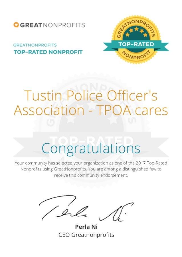 Tpoacares Great Nonprofit Certificate 2017