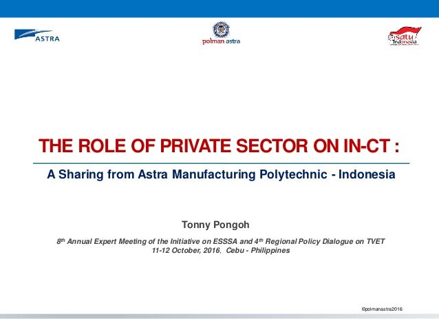 THE ROLE OF PRIVATE SECTOR ON IN-CT : ©polmanastra2016 Tonny Pongoh 8th Annual Expert Meeting of the Initiative on ESSSA a...
