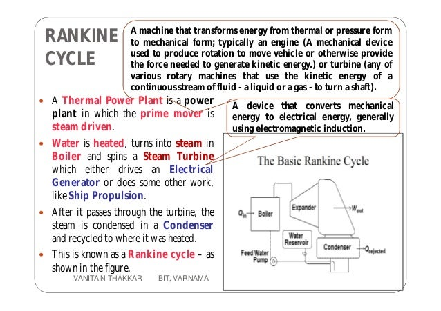 RANKINE CYCLE  A Thermal Power Plant is a power plant in which the prime mover is steam driven.  Water is heated, turns ...